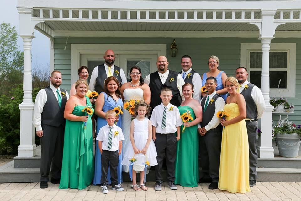 Summer wedding bridal party