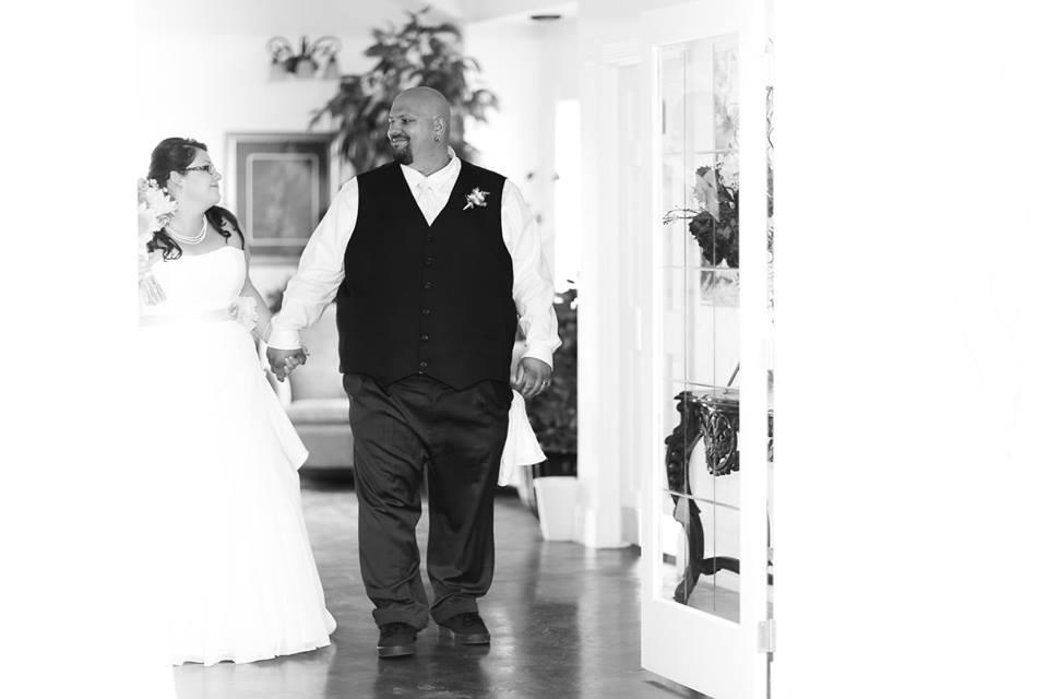 Bride and groom entrance at wedding reception