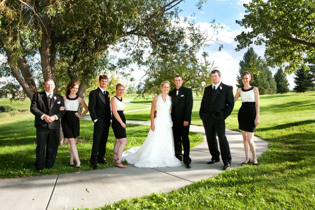 Bridal party dressed in classic black and white