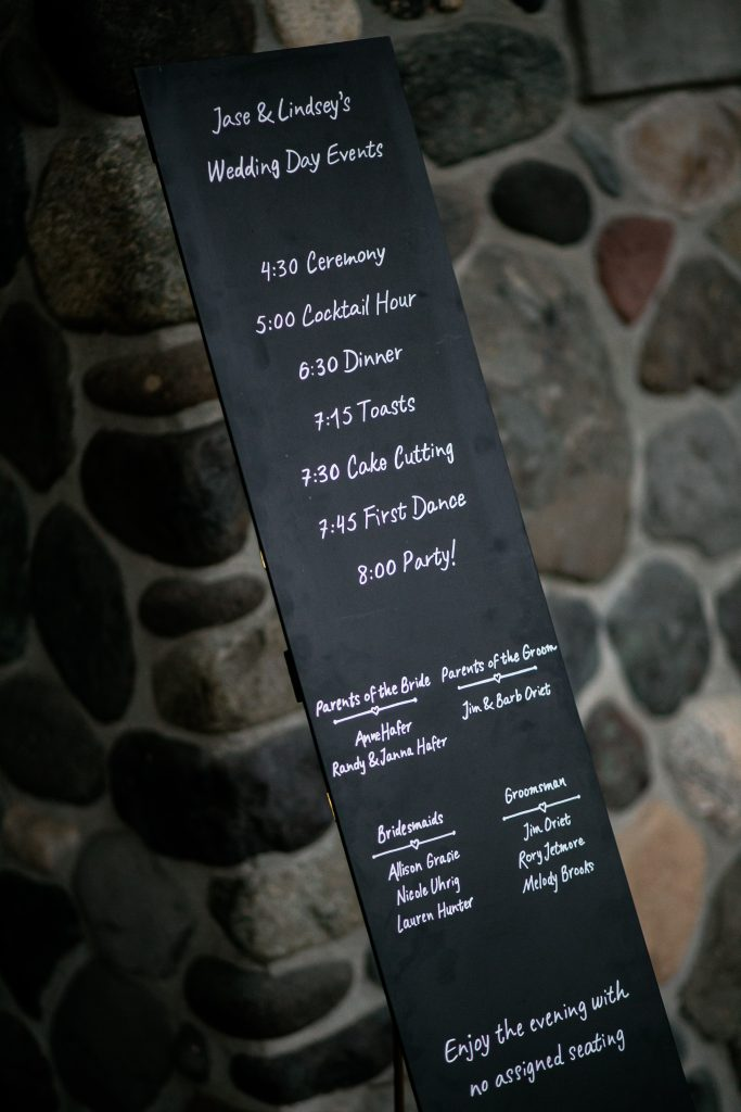 chalkboard sign with wedding information on it