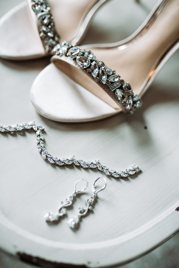 brides diamond open toe shoes, earrings and bracelet