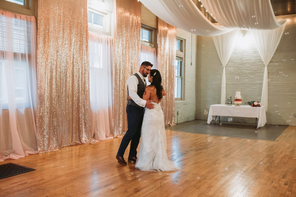 bride and groom during their first dance
