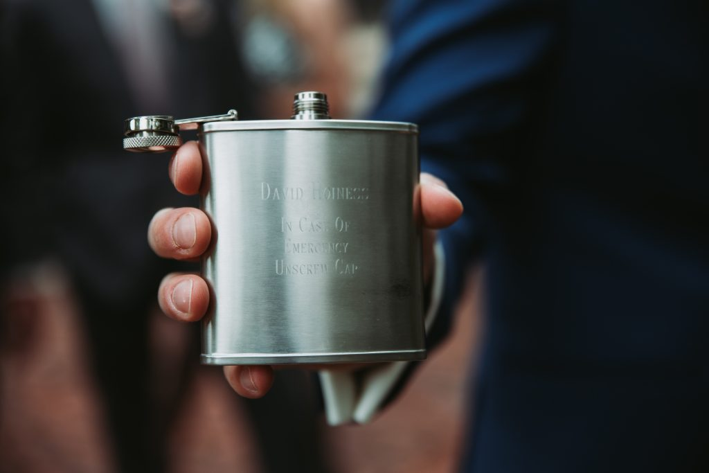a flask that were presents to the groomsmen