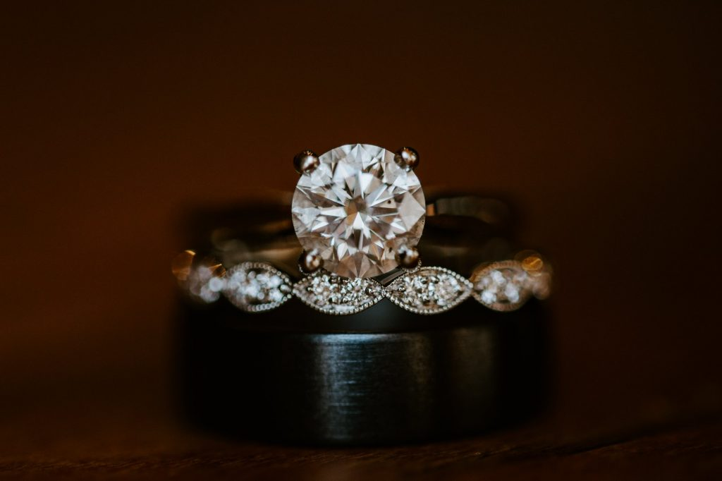up close look at the groom and brides wedding rings