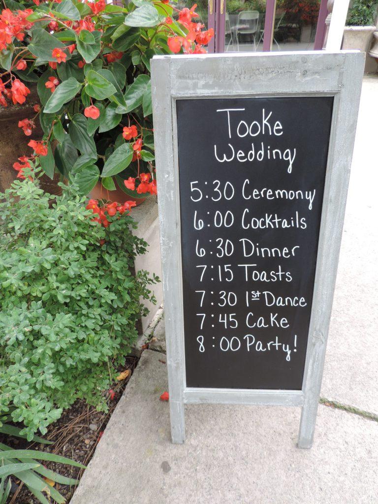 wedding chalkboard itinerary