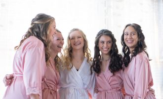 bride and her bridesmaids getting ready at the Billings Depot