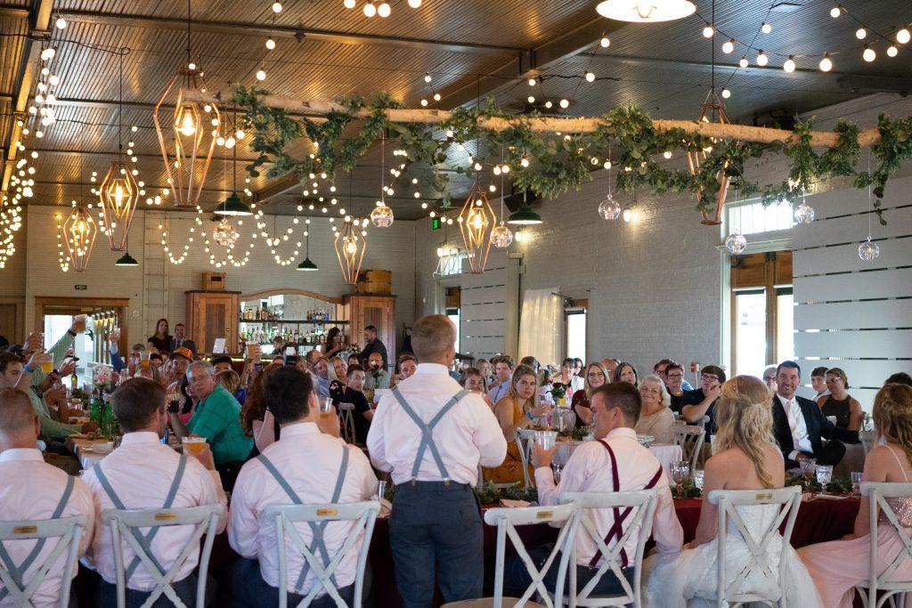 wedding party speeches during wedding reception